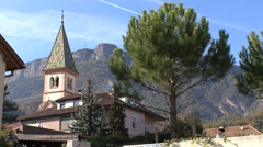 Colorful church tower in the Alto Adige region of Italy Stock Footage