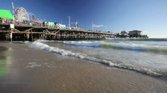Santa Monica Pier and Beach in Southern California Stock Footage