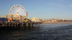 Santa Monica Pier Amusement Park Along Pacific Ocean in California Stock Footage
