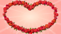 Heart Shaped Frame - Growing Organic Title with Roses in HD Stock Footage