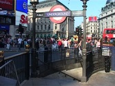 Stock Video Footage of Piccadilly Circus Underground Subway Entrance, London England GFSD