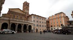 Italy - Rome - Santa Maria in Trastevere Stock Footage
