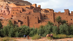 The Fortified town of Ait Benhaddou, High Atlas Mountains, Morocco, Africa Stock Footage