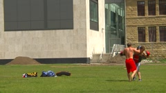 Sports and fitness, muay thai training medium shot Stock Footage