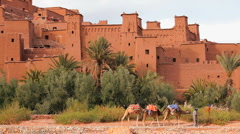 The Fortified town of Ait  Benhaddou, High Atlas Mountains, Morocco, Africa - stock footage