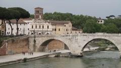 Italy - Rome - Tiber Island - Basilica di San Bartolomeo all'Isola Stock Footage
