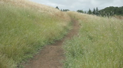 Hiking path on a grassy hill Stock Footage