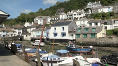 Polperro Working Fishing Village  and Harbour in Cornwall, UK Stock Footage