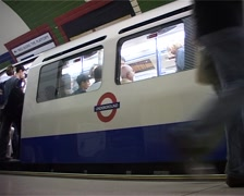 London Underground Piccadilly Circus Train Departing GFSD Stock Footage