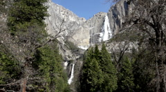 Upper and Lower falls of Yosemite Stock Footage