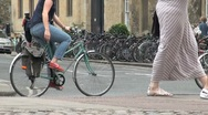 Oxford City with Bicycles and Traffic Stock Footage
