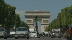 The Arch de Triumph in Paris, traffic (one) Stock Footage