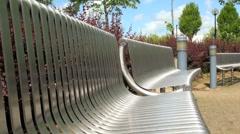 Modern Bench and Seating Area Stock Footage