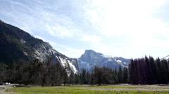 Pan of mountain area in Yosemite Stock Footage