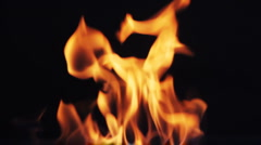 Fire flames on black background Stock Footage