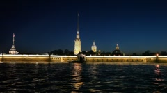 View of illuminated fortress at night from Neva river Stock Footage