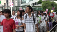 Pro Cantonese rally, Hong Kong, China demonstrations, news footage - stock footage