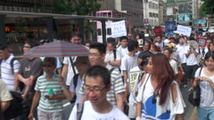 Hong Kong demonstrations, news footage, people, crowd Stock Footage