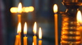 burning candles in the church. The Orthodox Christian Church  Footage