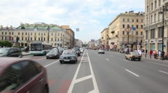 Cars move on Nevsky Avenue Stock Footage