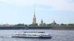 Passenger ship sails along Neva River Stock Footage