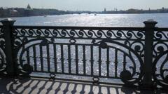 Panorama of Petersburg on Neva River from bridge Stock Footage