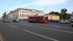 Movement of cars and public transport on Nevsky prospectus Stock Footage