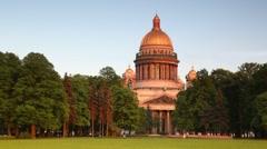 People walking on city park in Petersburg Stock Footage