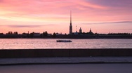 Stock Video Footage of Passenger ship sails along Neva by Peter and Paul Fortress