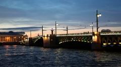 Palace Bridge on stone piers standing on Neva Stock Footage