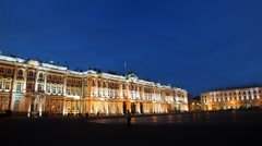 Hermitage on Palace square illuminated lights Stock Footage