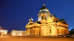Square in front of Saint Isaac at night Stock Footage