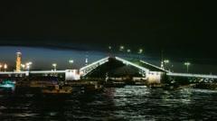 Many boats float near shined Palace Bridge Stock Footage