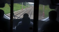 View railroad from train driver cabin during movement Stock Footage