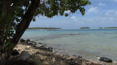 Bora Bora lagoon with boat - stock footage