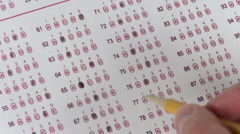 Multiple choice test rolling dice - HD Stock Footage