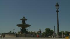 Paris fountain - police siren can be heard Stock Footage