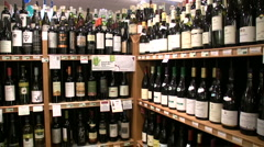 Wine Arbor in Boutique Grocery Market Stock Footage