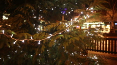 Christmas lights on a tree pull focus Stock Footage