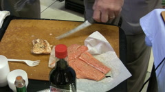 Preparing Grilled Salmon Stock Footage