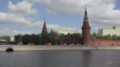 Many orange machines near the Kremlin Stock Footage