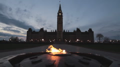Centennial Flame Burns Outside The Canadian Parliament Night Time Stock Footage