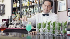 Hispanic bartender leaning on counter Stock Footage