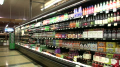 Grocery Store Beverage Aisle Stock Footage