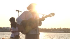 Busker at Mallory Square Florida Keys Stock Footage