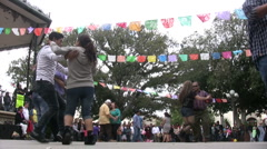 Salsa Dancing at Cinco De Mayo Celebration - Wide low angle Stock Footage