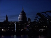Stock Video Footage of St Pauls at Night Zoom from Thames, London England GFSD