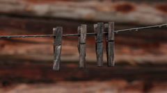 Clothespins after rain Stock Footage