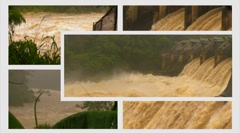 HD Dam Flood Water Collage Raging flood waters -Montage v1 with audio - stock footage