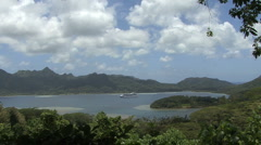 Huahine view of ship Stock Footage